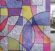 abordables -Confidentialité couleur géométrie motif fenêtre film maison chambre salle de bains verre fenêtre film autocollants auto-adhésif autocollant 45 x 100 cm