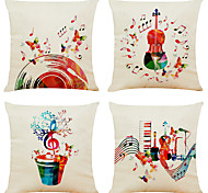 abordables -Ensemble de 4 taies d'oreiller décoratives carrées en lin de musique colorée