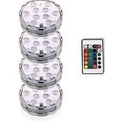 economico -luci sommerse per esterni luci per piscine subacquee telecomando impermeabile 4 pezzi 3w rgb 5.5v adatto per vasi acquari 10 perline led