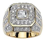 economico -anello da uomo in oro giallo 14k con taglio quadrato e zirconi ottagonali misura 9