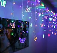abordables -1x 3.5m forme de papillon LED chaîne bande festival de lumières vacances de Noël glaçons rideaux de Noël lampe de décoration de mariage blanc chaud 96LED 110V / 220V prise EU / US éclairage coloré