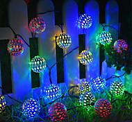 abordables -guirlandes solaires boule marocaine multicolore blanc chaud blanc 50led 30 led globe 20led guirlandes de fées lanterne à énergie solaire pour jardin extérieur patio patio fête d'arbre de noël