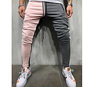 economico -pantaloni da uomo casual slim fit color block jogging pantaloni sportivi pantaloni hiphop con tasche taglie forti rosa