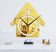 abordables -Populaire petite maison romantique pleine maison en trois dimensions acrylique miroir autocollant mural horloge mode décoration de la maison horloge murale
