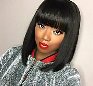 abordables -perruque femme noire courte perruque droite vague bob perruque coiffures fibre chimique haute température perruque de soie
