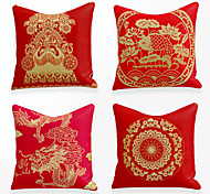 economico -fodera per cuscino 4 pezzi lino morbido decorativo quadrato copriletto federa federa per divano camera da letto 45 x 45 cm (18 x 18 pollici) griglie per finestre in stile cinese lavabili in lavatrice