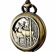 economico -design orologio da tasca catena movimento al quarzo numeri arabi mezzo cacciatore per aquila scout (cervo)