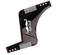 abordables -Gabarit d'outil de mise en forme de barbe, peigne de coiffage de barbe pour alignement et bordure, pochoir de coiffure pour hommes (marron)