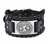 abordables -Bracelet manchette en cuir viking - bracelet de loup arbre de vie vintage bracelet talisman scandinave nordique pour païen celtique (argent 2577)