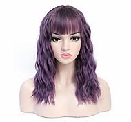 abordables -perruque violette courte 18 `` perruques de fête avec frange femmes perruque ondulée synthétique pour cosplay halloween, taille moyenne réglable