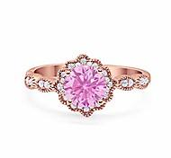 economico -halo floreale art deco matrimonio anello di fidanzamento tondo tono rosa, simulato rosa morganite cubic zirconia 925 argento sterling size-11