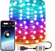 economico -luci fiabesche rgb ha condotto le luci della stringa per interni luci scintillanti all'aperto 20m 10m 5m cambio di colore sincronizzazione musicale telefono app bluetooth luci stellate camera da letto