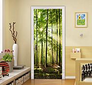 abordables -2 pièces auto-adhésif créatif vert bois porte autocollants pour salon bricolage décoration maison étanche stickers muraux
