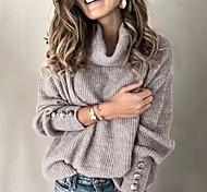 abordables -Femme basique Tricoté Bouton Couleur unie Arrêtez-vous Manches Longues Pull Cardigans Col Roulé Automne Hiver Blanche Noir Bleu