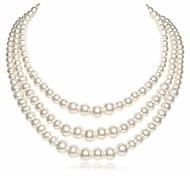 abordables -collier de perles d'imitation ronde collier tour de cou multi brins vintage collier à clapet des années 20 pour la fête (style2)