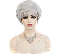 abordables -dames cheveux courts perruque coiffures exportation perruque de fibre chimique frange oblique mode blanc gris cheveux courts bouclés coiffures
