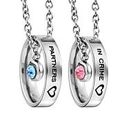 economico -collane abbinate per coppie, ciondolo con anello di strass inciso per lui e per lei regali per fidanzata fidanzata