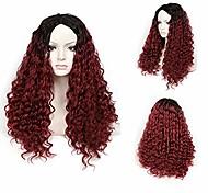 abordables -perruque synthétique bouclée pour femmes perruques synthétiques perruque de couleur ombre 18 pouces t1b / couleur bordeaux