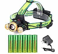 abordables -3 Cree 18650 lampe frontale rechargeable réglable étanche LED zoomable la plus lumineuse lampe frontale avec 6 piles 18650 et lampes frontales de chargeur pour le camping en cours d'exécution des