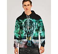 abordables -Homme Sweat-shirt à capuche Graphique 3D Animal Poche avant Quotidien Impression 3D Motifs 3D Simple Pulls Capuche Pulls molletonnés Vert Claire
