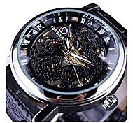 abordables -mode dragon squelette conception boîtier transparent montre mécanique cadran doré marque luxe hommes montres vent à la main
