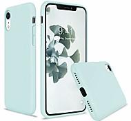 abordables -coque iphone xr, coque de protection intégrale en caoutchouc souple en silicone liquide souple pour iphone xr (avec doublure en microfibre souple) pour iphone xr - menthe