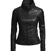 economico -giacca classica da donna in vera pelle sintetica nera l896-xl