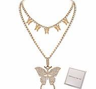 abordables -2 pièces papillon collier pour femmes filles strass chaîne déclaration bling bling chaîne cristal tour de cou collier bijoux cadeaux