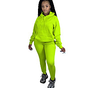 abordables -Femme Couleur unie Usage quotidien Ensemble deux pièces Sweat-shirt Survêtement Pantalon Hauts