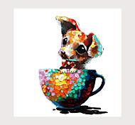 abordables -tasse chien peinture à l'huile sur toile art contemporain abstrait peintures murales peinture à la main décorations de bureau à domicile toile art mural peinture toile roulée (sans cadre)