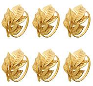 abordables -ronds de serviette lot de 6 pour Halloween, Thanksgiving, Noël, dîners, décoration de table à manger porte-serviette en métal fait main or