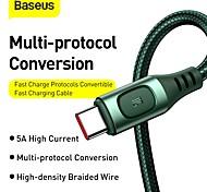 economico -BASEUS USB C Cavi Alta velocità Carica rapida Trasmissione dati 5 A 2.0m (6,5 piedi) PVC Per Xiaomi MI Samsung Xiaomi Appendini per cellulare