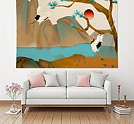 abordables -Peinture à l'encre de Chine style tapisserie murale art décor couverture rideau suspendu maison chambre salon décoration polyester grue arbre de montagne