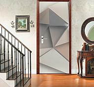abordables -Autocollants de porte créatifs auto-adhésifs triangle en trois dimensions salon bricolage décoratif maison autocollants muraux imperméables