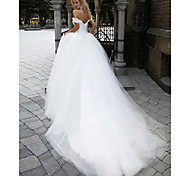 abordables -Robe de Soirée Robes de mariée Epaules Dénudées Traîne Chapelle Tulle Manches Courtes avec 2021