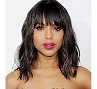 abordables -perruques courtes ondulées avec une frange pour femme noir couleur marron mélangé perruque courte ondulée bob bouclée synthétique aspect naturel cheveux en fibres résistantes à la chaleur pour la vie