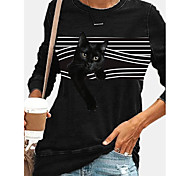 abordables -Femme Sweat à capuche Rayé Chat Graphique Quotidien Simple Pulls Capuche Pulls molletonnés Noir