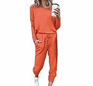 abordables -vezad femmes 2 pièces tenues de sport ensemble de hauts et pantalons de couleur unie à manches longues