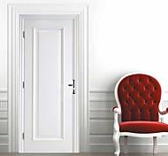 abordables -Imitation blanc porte en bois auto-adhésif créatif porte autocollants salon bricolage décoratif maison étanche stickers muraux