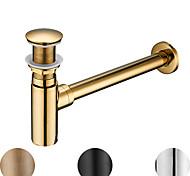 economico -Accessorio rubinetto - Qualità superiore Scarico dell'acqua a scomparsa senza troppopieno Moderno Rame Cromo
