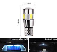 abordables -2x Voiture 5W5 Ampoule LED T10 W5W LED Signal lumineux Canbus 12V 6000K Auto Claerance Wedge Side Lampes inversées 5630 6smd bleu pas d'erro