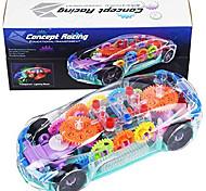 abordables -Voiture jouet pour enfants avec musique LED et engrenage mécanique transparent électrique - Jouets de voitures de course d'apprentissage éducatif précoce pour 2 3 4 ans garçons filles