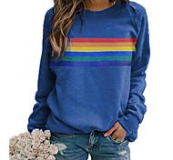 abordables -T-shirt Femme Quotidien à imprimé arc-en-ciel Graphique Manches Longues Col Rond Hauts Standard Haut de base basique Simple Bleu Rouge Kaki