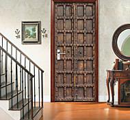 abordables -Imitation rétro porte en bois auto-adhésif créatif porte autocollants salon bricolage décoratif maison étanche stickers muraux