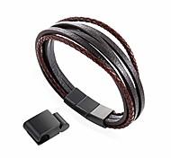 """economico -8.5 """"classico braccialetto in pelle marrone per uomo in acciaio inossidabile spazzolato chiusura magnetica multistrato marrone intrecciato - incl. Estensione e scatola di metallo - una volta come"""