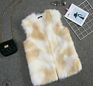 economico -Per donna Monocolore Autunno inverno Gilè Standard Quotidiano Senza maniche Pelliccia sintetica Cappotto Top Cachi