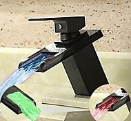 economico -rubinetto da bagno monocomando, bronzo lucidato a olio un foro led / cascata / centeret, rubinetto lavandino bagno in ottone contiene con linee di alimentazione
