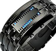 economico -Mastop orologio da polso digitale da uomo con cinturino in acciaio inossidabile lava rosso lava (argento - orologio con led blu binario)