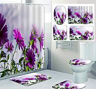 economico -bellissimo motivo floreale stampa bagno tenda doccia per il tempo libero WC design in quattro pezzi