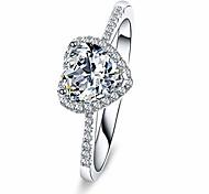 abordables -Bague de fiançailles en forme de coeur en argent sterling 925 1 carat de promesse d'anniversaire taille 9